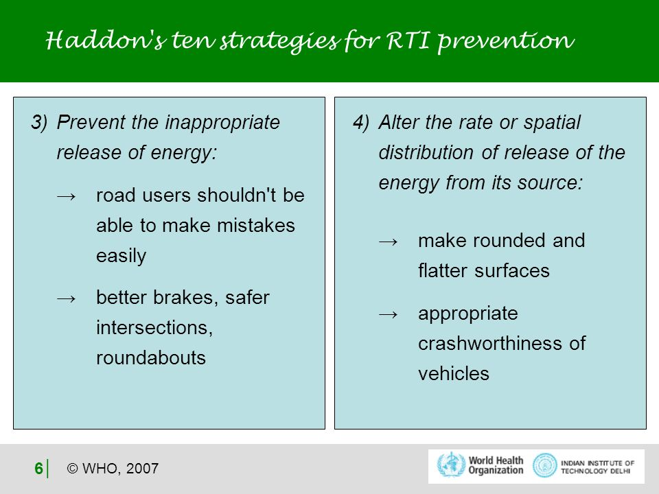 © WHO, 2007 6 Haddon s ten strategies for RTI prevention 3) Prevent the inappropriate release of energy: road users shouldn t be able to make mistakes easily better brakes, safer intersections, roundabouts 4) Alter the rate or spatial distribution of release of the energy from its source: make rounded and flatter surfaces appropriate crashworthiness of vehicles