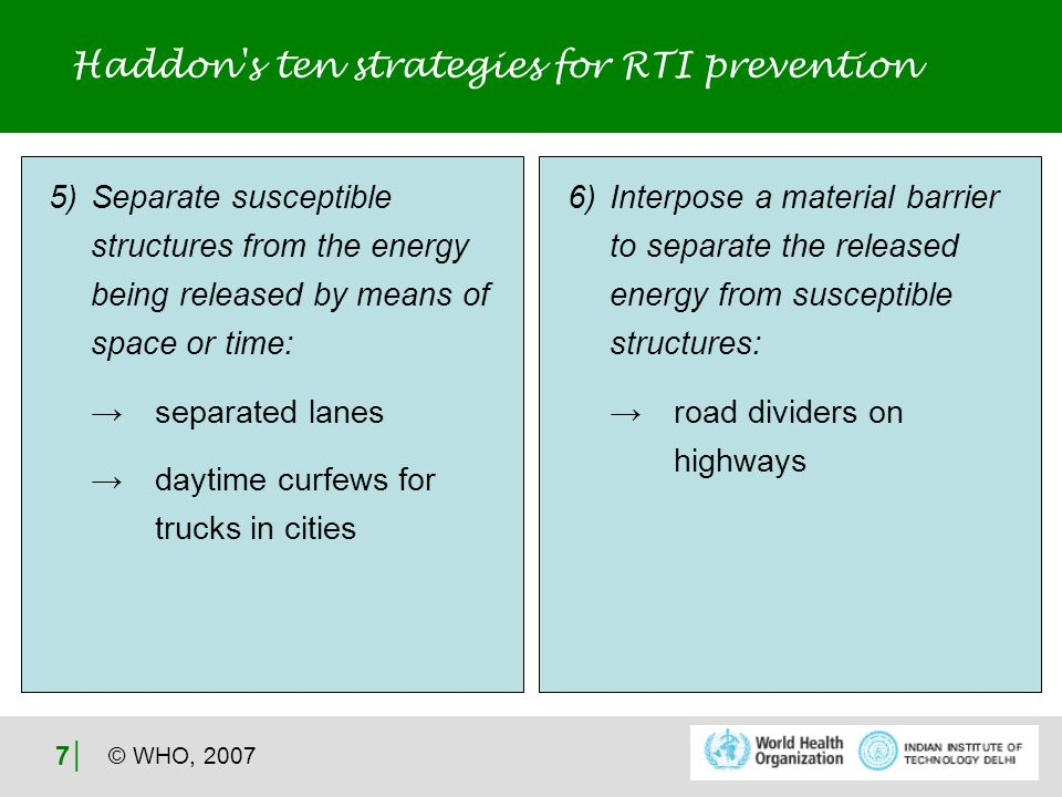 © WHO, 2007 8 Haddon s ten strategies for RTI prevention 7) Modify contact surfaces or basic structures that can be impacted: softer car and bus fronts breakaway poles on highways use of helmets by two- wheeler riders 8) Strengthen human beings who are susceptible by the energy transfer: treatment of osteoporosis in older road users