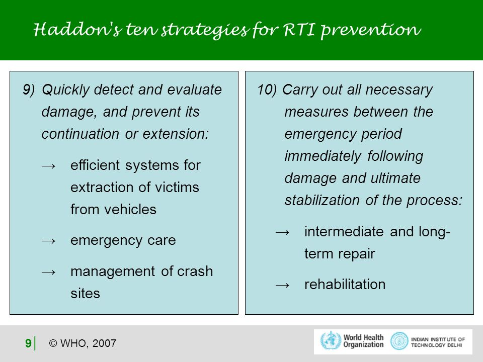 © WHO, 2007 9 Haddon s ten strategies for RTI prevention 9) Quickly detect and evaluate damage, and prevent its continuation or extension: efficient systems for extraction of victims from vehicles emergency care management of crash sites 10) Carry out all necessary measures between the emergency period immediately following damage and ultimate stabilization of the process: intermediate and long- term repair rehabilitation