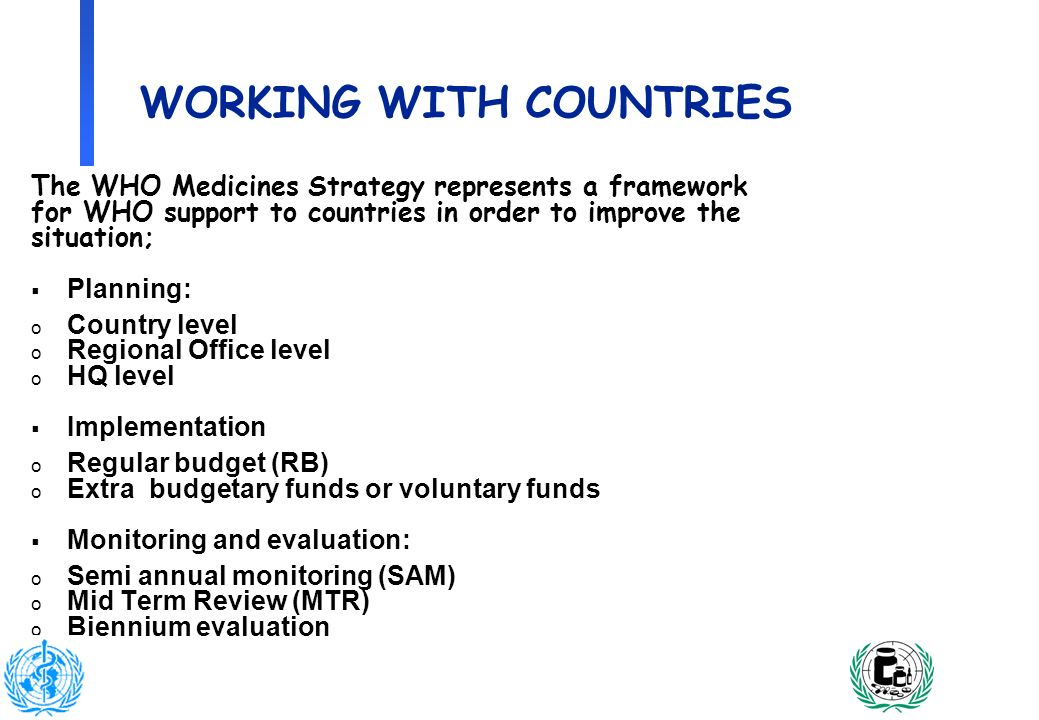 3 WORKING WITH COUNTRIES The WHO Medicines Strategy represents a framework for WHO support to countries in order to improve the situation; Planning: o