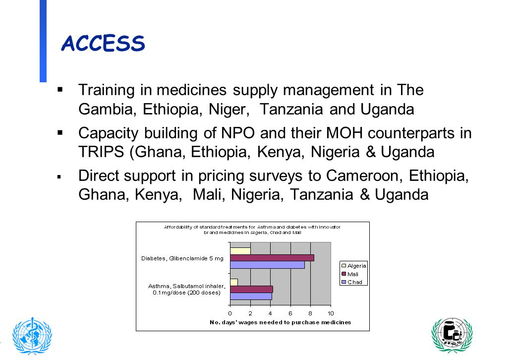 6 ACCESS Training in medicines supply management in The Gambia, Ethiopia, Niger, Tanzania and Uganda Capacity building of NPO and their MOH counterpar