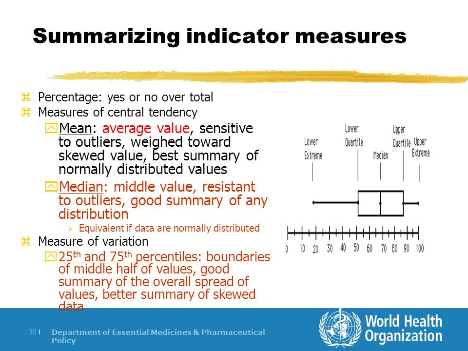 Department of Essential Medicines & Pharmaceutical Policy 38 | Summarizing indicator measures zPercentage: yes or no over total zMeasures of central tendency yMean: average value, sensitive to outliers, weighed toward skewed value, best summary of normally distributed values yMedian: middle value, resistant to outliers, good summary of any distribution Equivalent if data are normally distributed zMeasure of variation y25 th and 75 th percentiles: boundaries of middle half of values, good summary of the overall spread of values, better summary of skewed data