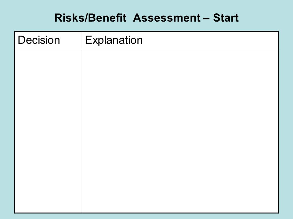 Risks/Benefit Assessment – Start DecisionExplanation