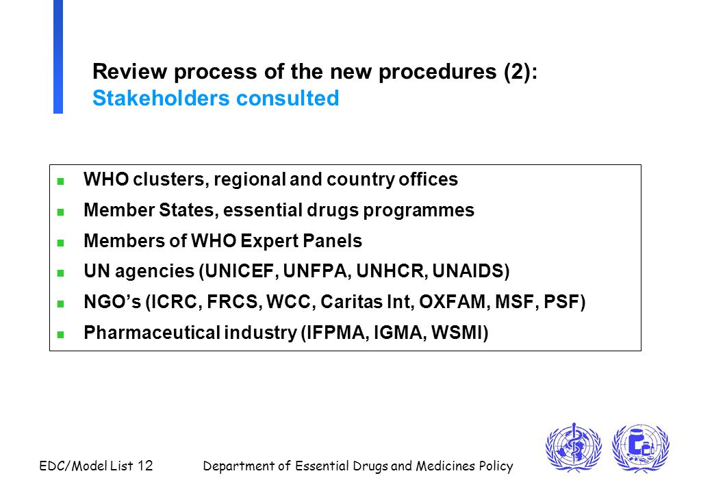 EDC/Model List 12 Department of Essential Drugs and Medicines Policy Review process of the new procedures (2): Stakeholders consulted n WHO clusters,