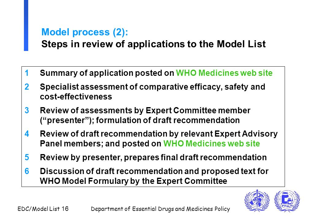 EDC/Model List 16 Department of Essential Drugs and Medicines Policy Model process (2): Steps in review of applications to the Model List 1Summary of
