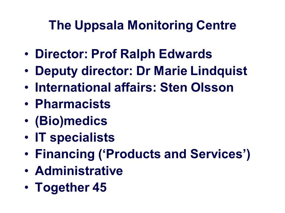 The Uppsala Monitoring Centre Director: Prof Ralph Edwards Deputy director: Dr Marie Lindquist International affairs: Sten Olsson Pharmacists (Bio)med