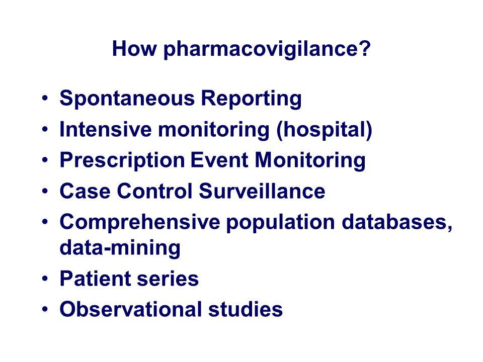 How pharmacovigilance? Spontaneous Reporting Intensive monitoring (hospital) Prescription Event Monitoring Case Control Surveillance Comprehensive pop