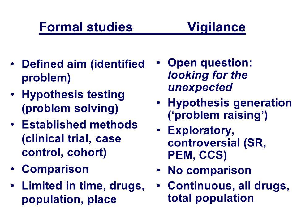 Formal studiesVigilance Defined aim (identified problem) Hypothesis testing (problem solving) Established methods (clinical trial, case control, cohor