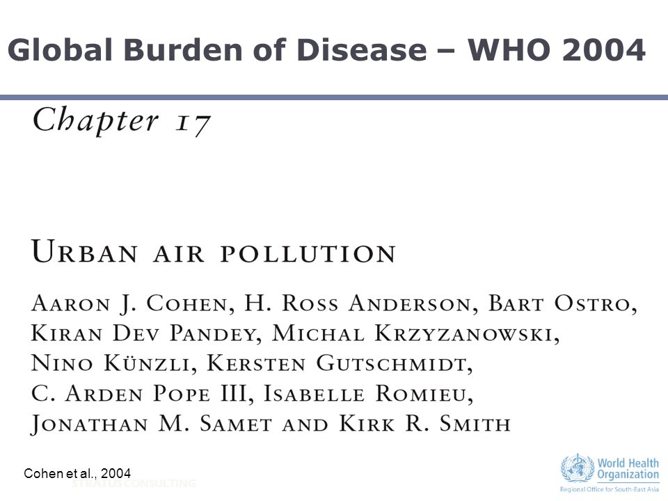 Global Burden of Disease – WHO 2004 Cohen et al., 2004
