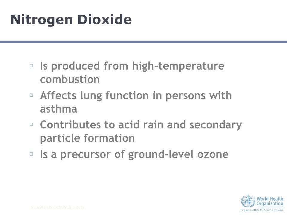 STRATUS CONSULTING WHO 2005 Air Quality Guidelines: Ozone World Health Organization, 2008d Ozone (O 3 ) 100 μg/m 3 8-hour mean