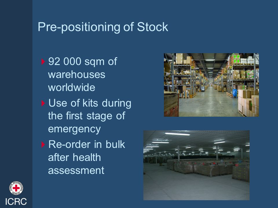 Pre-positioning of Stock 92 000 sqm of warehouses worldwide Use of kits during the first stage of emergency Re-order in bulk after health assessment