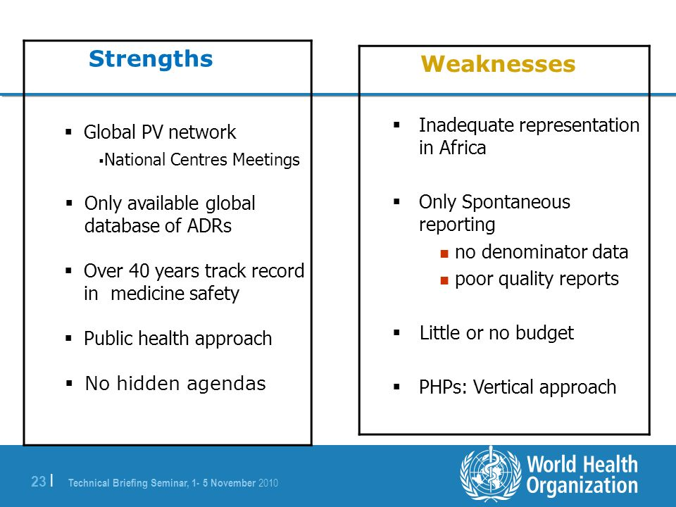 Technical Briefing Seminar, 1- 5 November 2010 23 | Strengths Global PV network National Centres Meetings Only available global database of ADRs Over