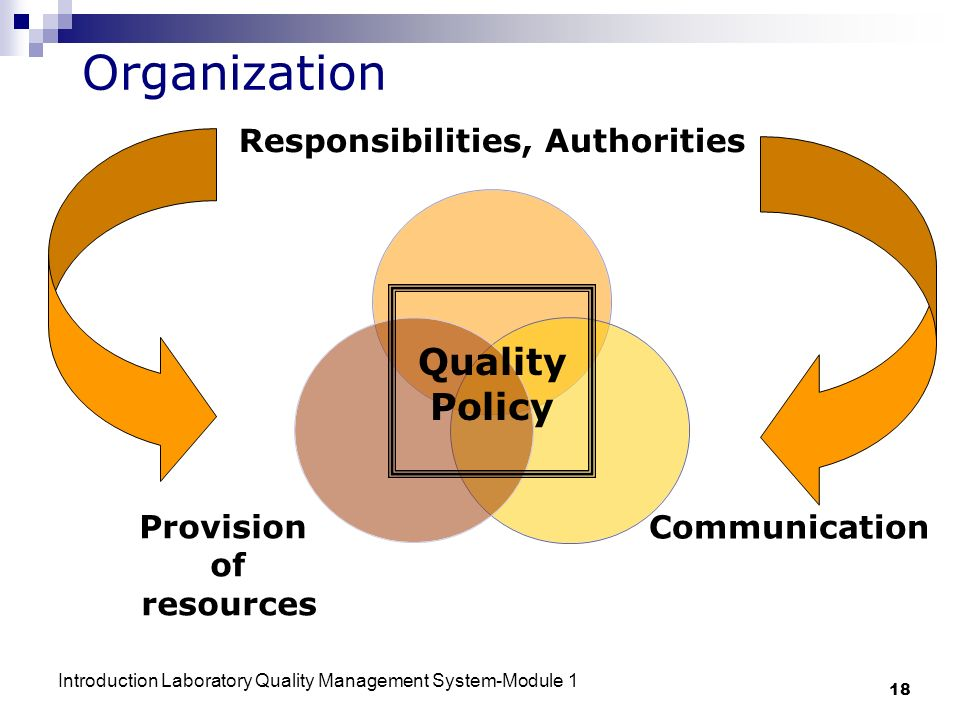 Introduction Laboratory Quality Management System-Module 1 18 Organization Responsibilities, Authorities Communication Provision of resources Quality Policy