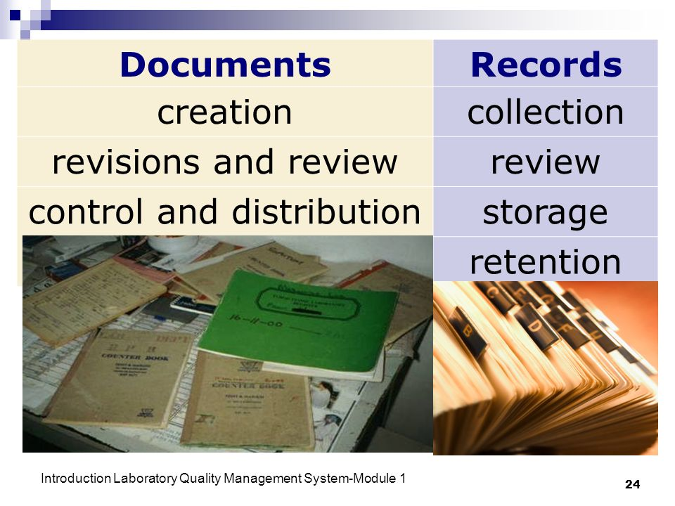 Introduction Laboratory Quality Management System-Module 1 24 DocumentsRecords creationcollection revisions and reviewreview control and distributionstorage retention