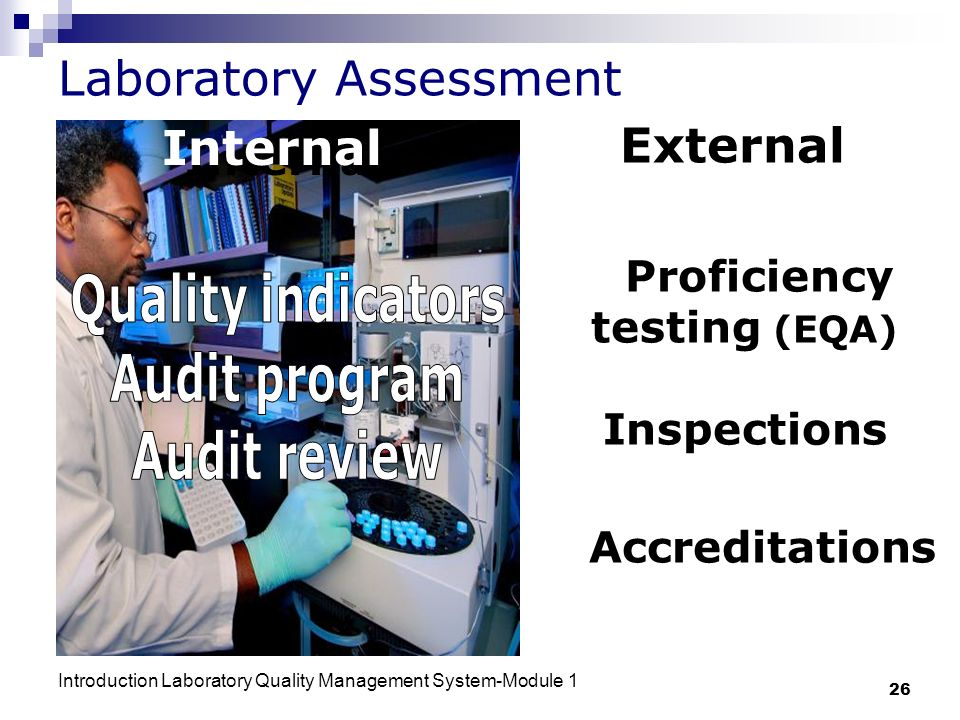 Introduction Laboratory Quality Management System-Module 1 26 Laboratory Assessment External Proficiency testing (EQA) Inspections Accreditations Internal
