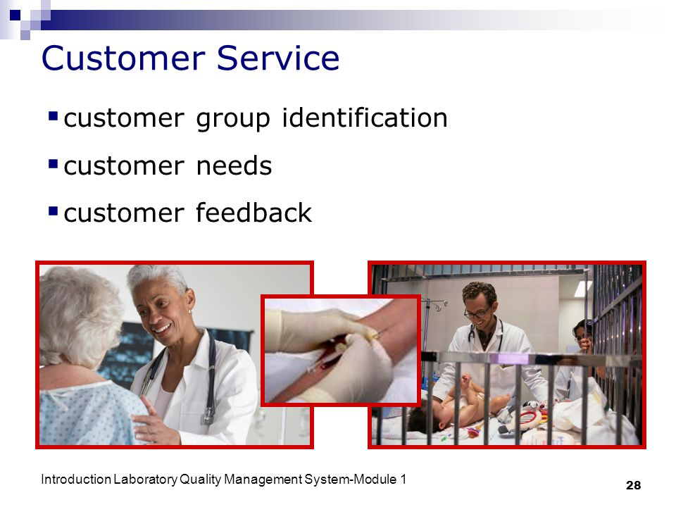 Introduction Laboratory Quality Management System-Module 1 28 Customer Service customer group identification customer needs customer feedback