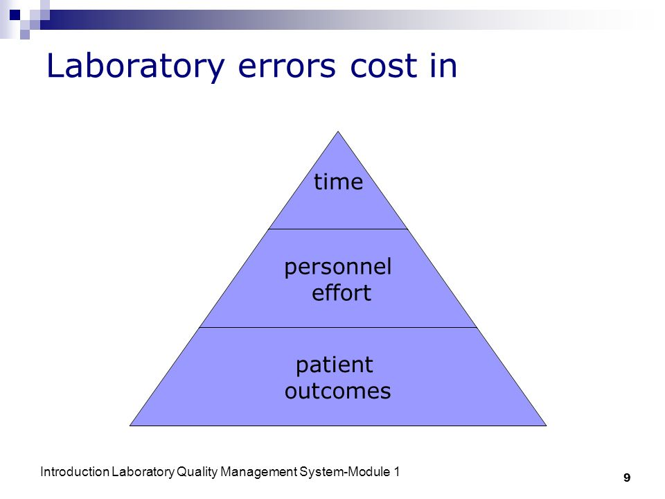 Introduction Laboratory Quality Management System-Module 1 9 Laboratory errors cost in time personnel effort patient outcomes