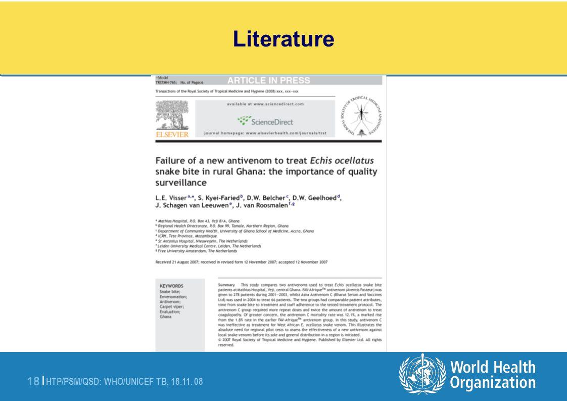 HTP/PSM/QSD: WHO/UNICEF TB, 18.11. 08 18 | Literature