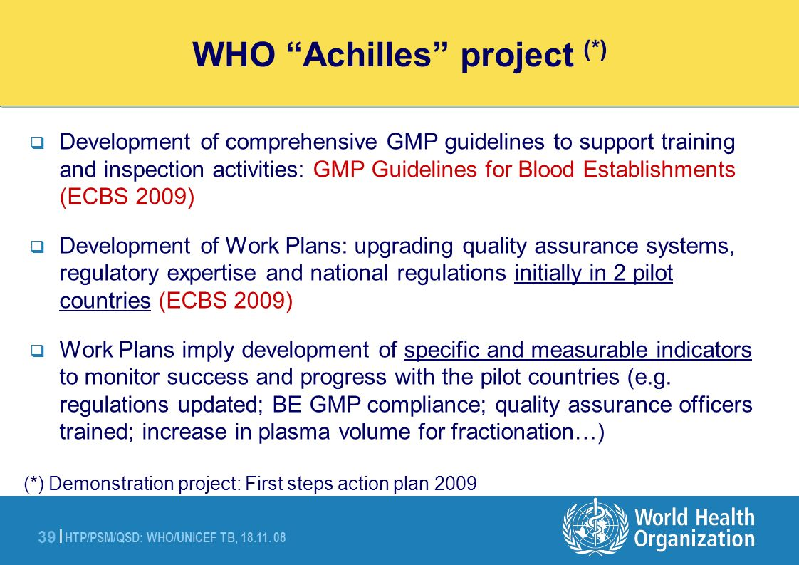 HTP/PSM/QSD: WHO/UNICEF TB, 18.11. 08 39 | WHO Achilles project Action Plan (demonstration project) Development of comprehensive GMP guidelines to sup