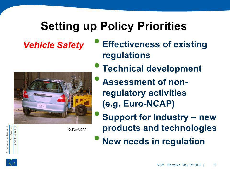 | 11 MCM - Bruxelles, May 7th 2009 Vehicle Safety Effectiveness of existing regulations Technical development Assessment of non- regulatory activities
