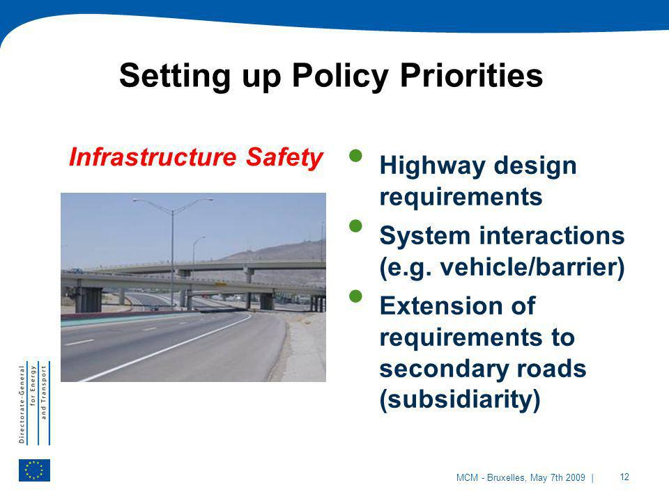 | 12 MCM - Bruxelles, May 7th 2009 Infrastructure Safety Highway design requirements System interactions (e.g. vehicle/barrier) Extension of requireme