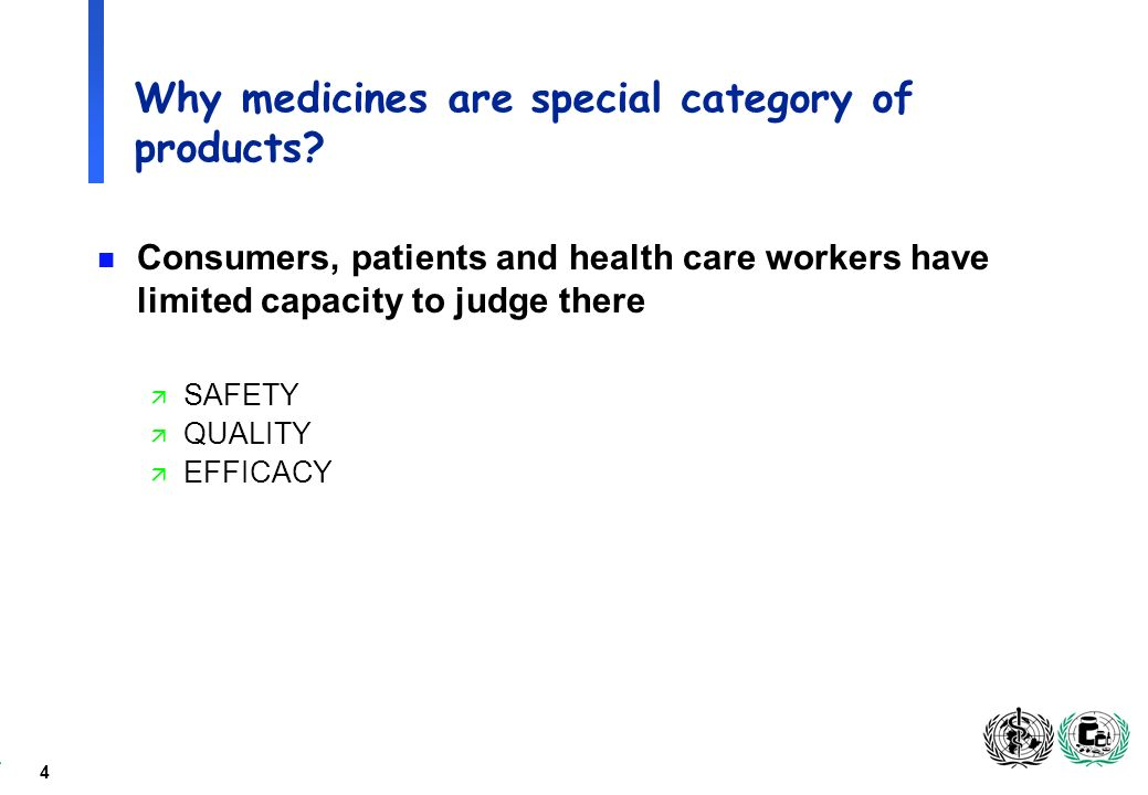 4 Why medicines are special category of products.