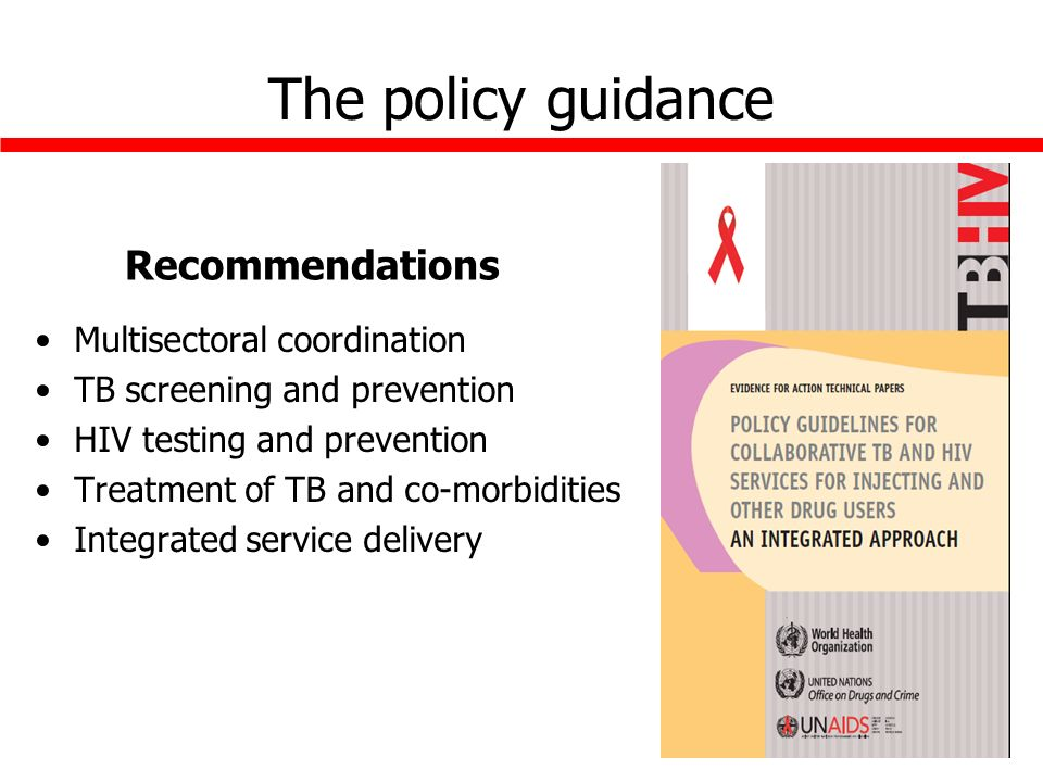 The policy guidance Recommendations Multisectoral coordination TB screening and prevention HIV testing and prevention Treatment of TB and co-morbidities Integrated service delivery