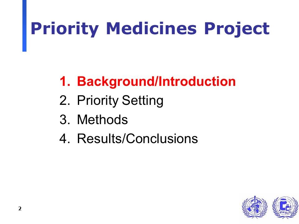 2 Priority Medicines Project 1.Background/Introduction 2.Priority Setting 3.Methods 4.Results/Conclusions