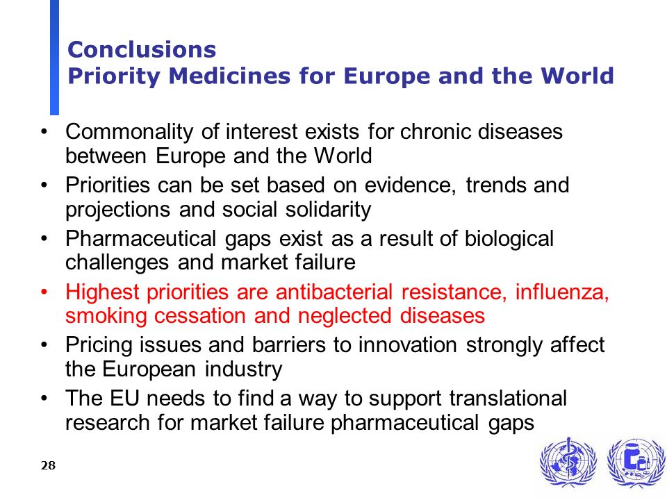 28 Conclusions Priority Medicines for Europe and the World Commonality of interest exists for chronic diseases between Europe and the World Priorities