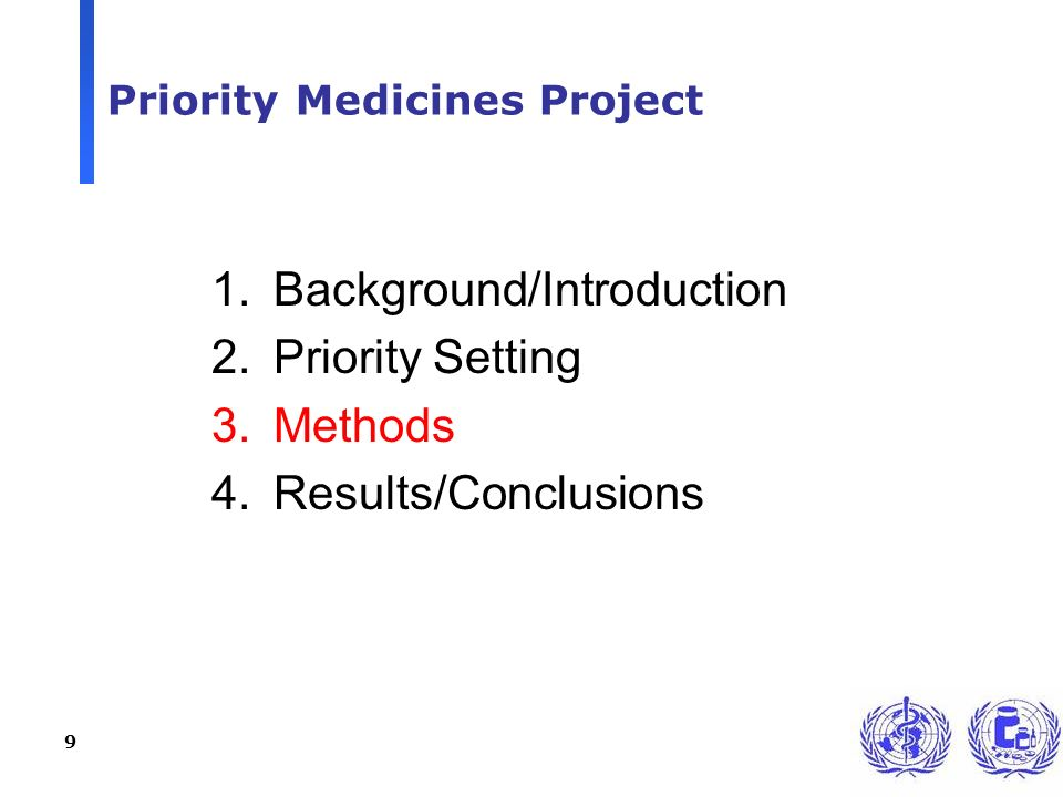9 Priority Medicines Project 1.Background/Introduction 2.Priority Setting 3.Methods 4.Results/Conclusions