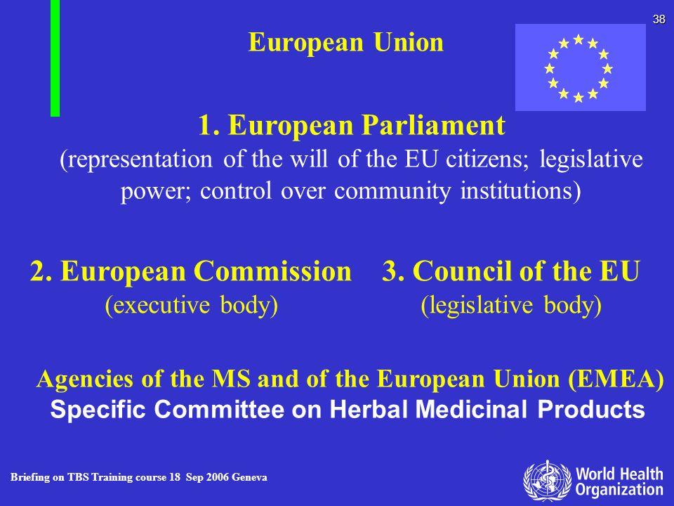 Briefing on TBS Training course 18 Sep 2006 Geneva 38 European Union 1. European Parliament (representation of the will of the EU citizens; legislativ