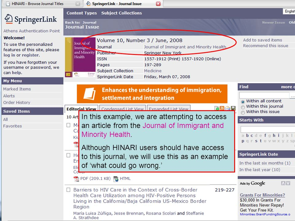 In this example, we are attempting to access an article from the Journal of Immigrant and Minority Health.