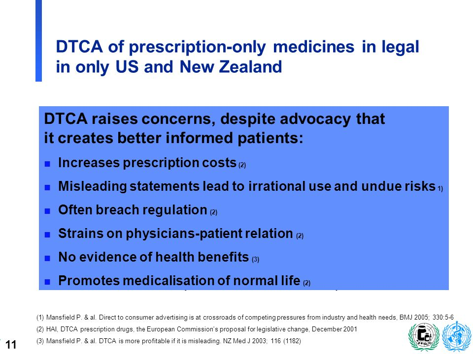 11 DTCA of prescription-only medicines in legal in only US and New Zealand n US since 1980s ä FDA decision 1997: relax restrictions on radio and TV ä 2003: US$ 3 billion per year ä 8.5 m.