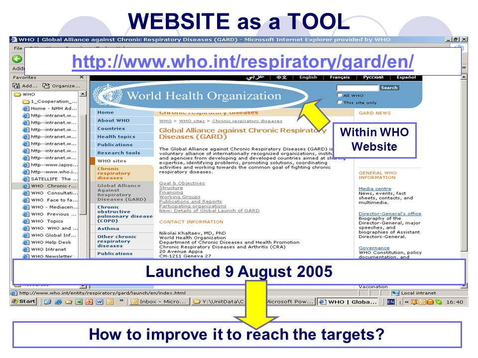 WEBSITE as a TOOL   How to improve it to reach the targets.