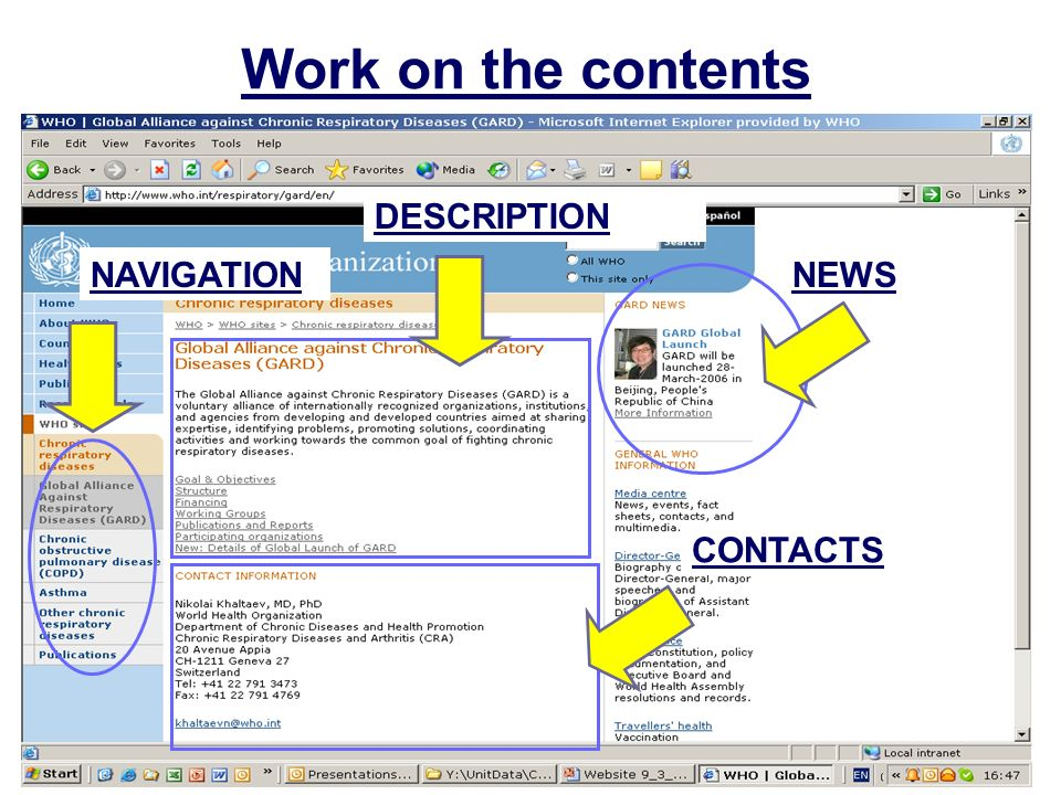 Work on the contents NEWS DESCRIPTION CONTACTS NAVIGATION
