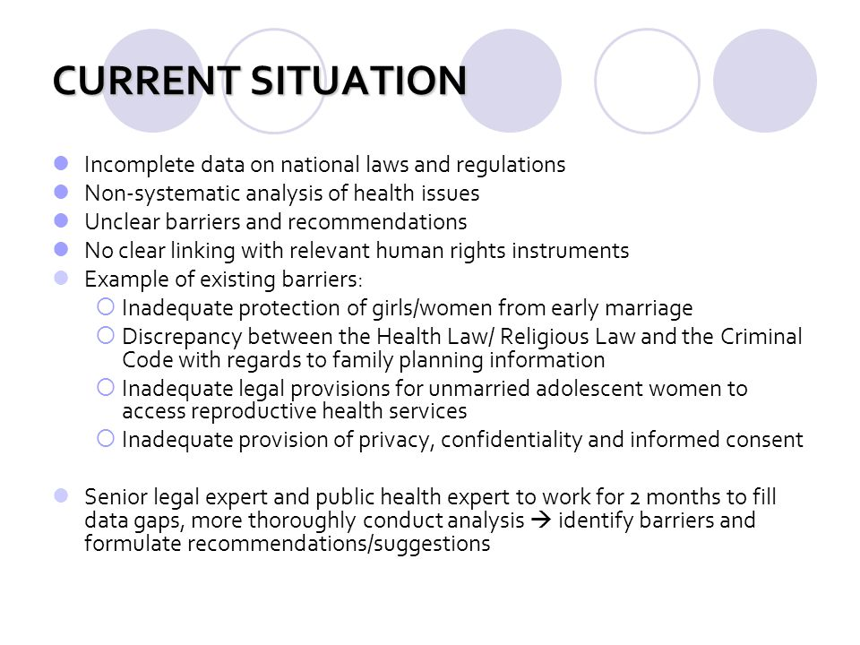 CURRENT SITUATION Incomplete data on national laws and regulations Non-systematic analysis of health issues Unclear barriers and recommendations No cl