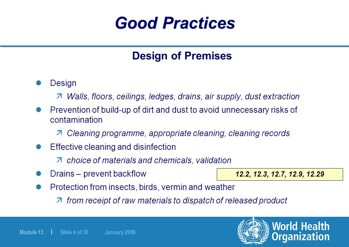 Module 13 | Slide 4 of 30 January 2006 Good Practices Design of Premises Design äWalls, floors, ceilings, ledges, drains, air supply, dust extraction