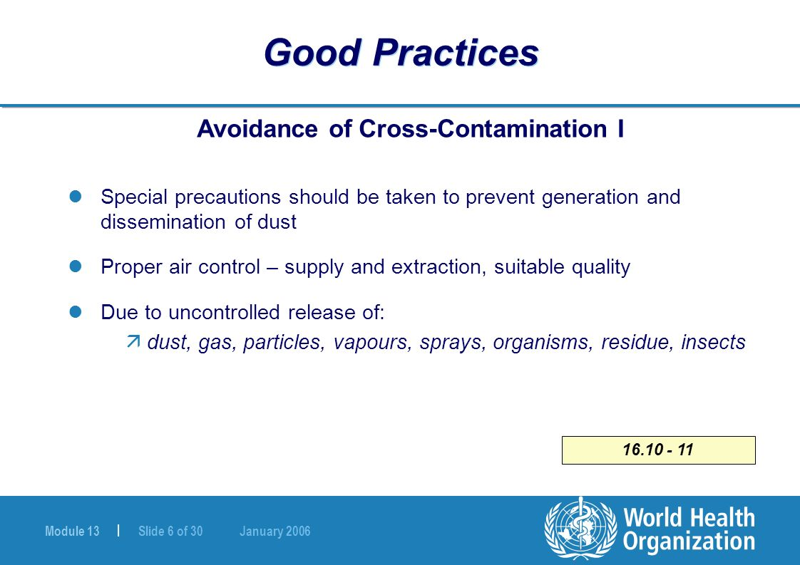 Module 13 | Slide 6 of 30 January 2006 16.10 - 11 Good Practices Avoidance of Cross-Contamination I Special precautions should be taken to prevent gen