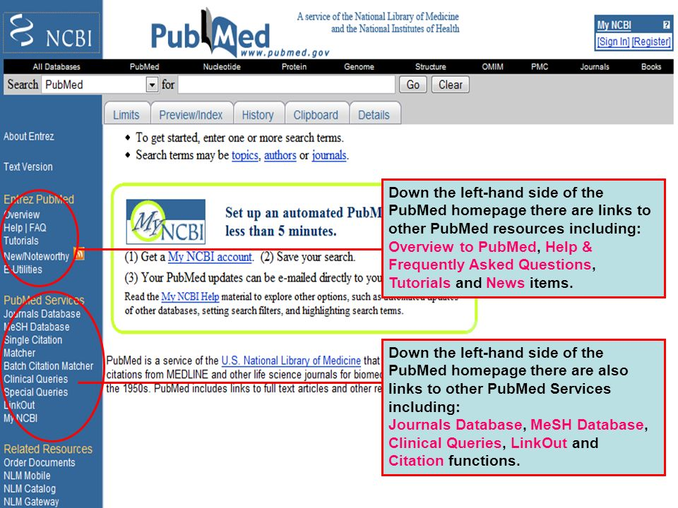 PubMed home page 2 Down the left-hand side of the PubMed homepage there are links to other PubMed resources including: Overview to PubMed, Help & Freq