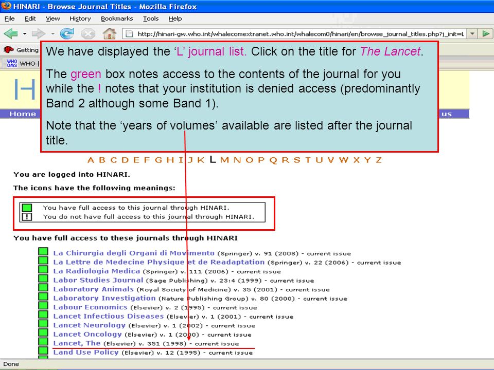 We have displayed the L journal list. Click on the title for The Lancet.