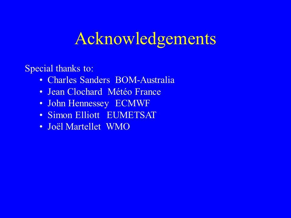 Acknowledgements Special thanks to: Charles Sanders BOM-Australia Jean Clochard Météo France John Hennessey ECMWF Simon Elliott EUMETSAT Joël Martellet WMO