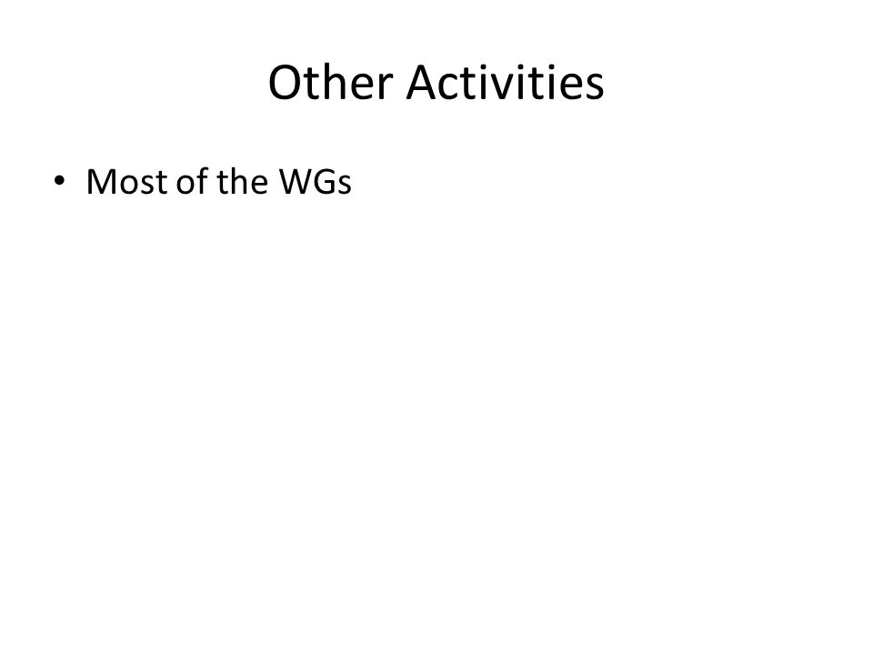 Other Activities Most of the WGs