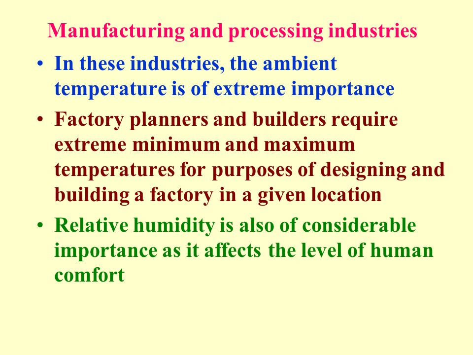 Manufacturing and processing industries In these industries, the ambient temperature is of extreme importance Factory planners and builders require ex