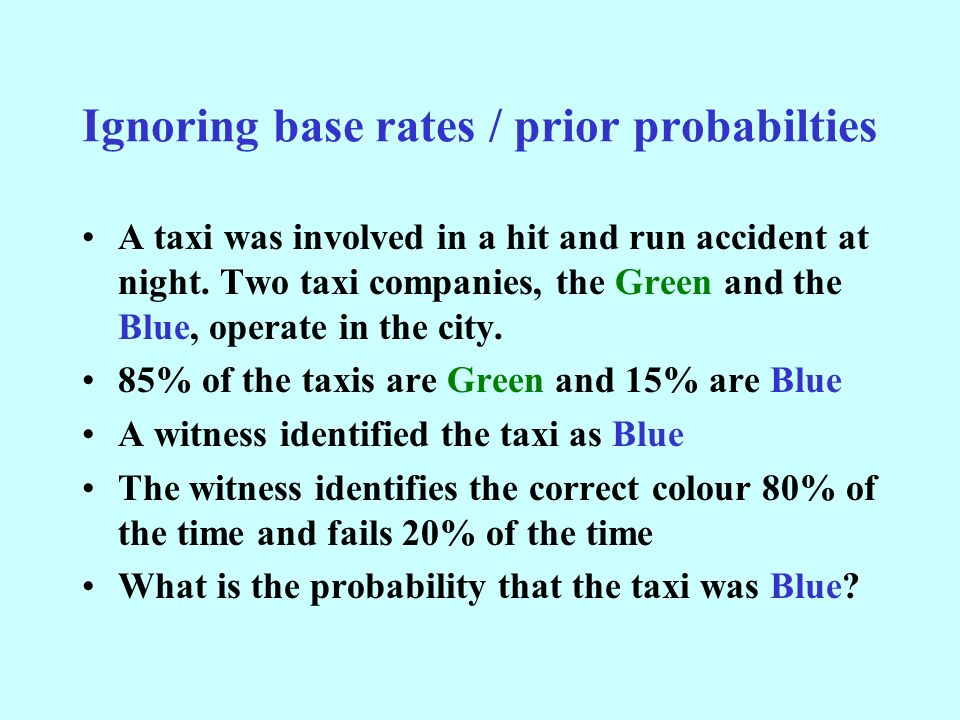 Ignoring base rates / prior probabilties A taxi was involved in a hit and run accident at night.