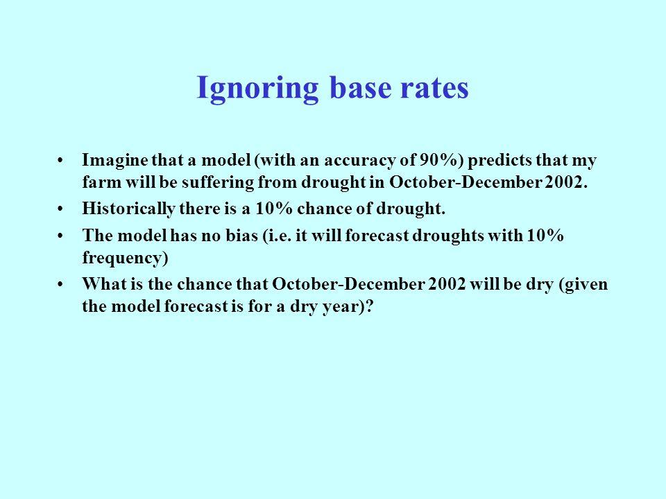 Ignoring base rates Imagine that a model (with an accuracy of 90%) predicts that my farm will be suffering from drought in October-December 2002.