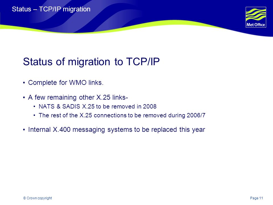 Page 11© Crown copyright Status – TCP/IP migration Status of migration to TCP/IP Complete for WMO links. A few remaining other X.25 links- NATS & SADI