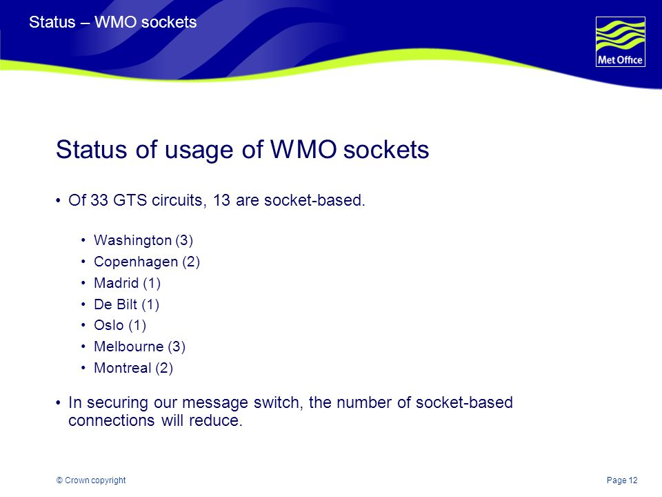 Page 12© Crown copyright Status – WMO sockets Status of usage of WMO sockets Of 33 GTS circuits, 13 are socket-based.