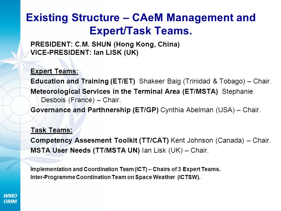Existing Structure – CAeM Management and Expert/Task Teams.