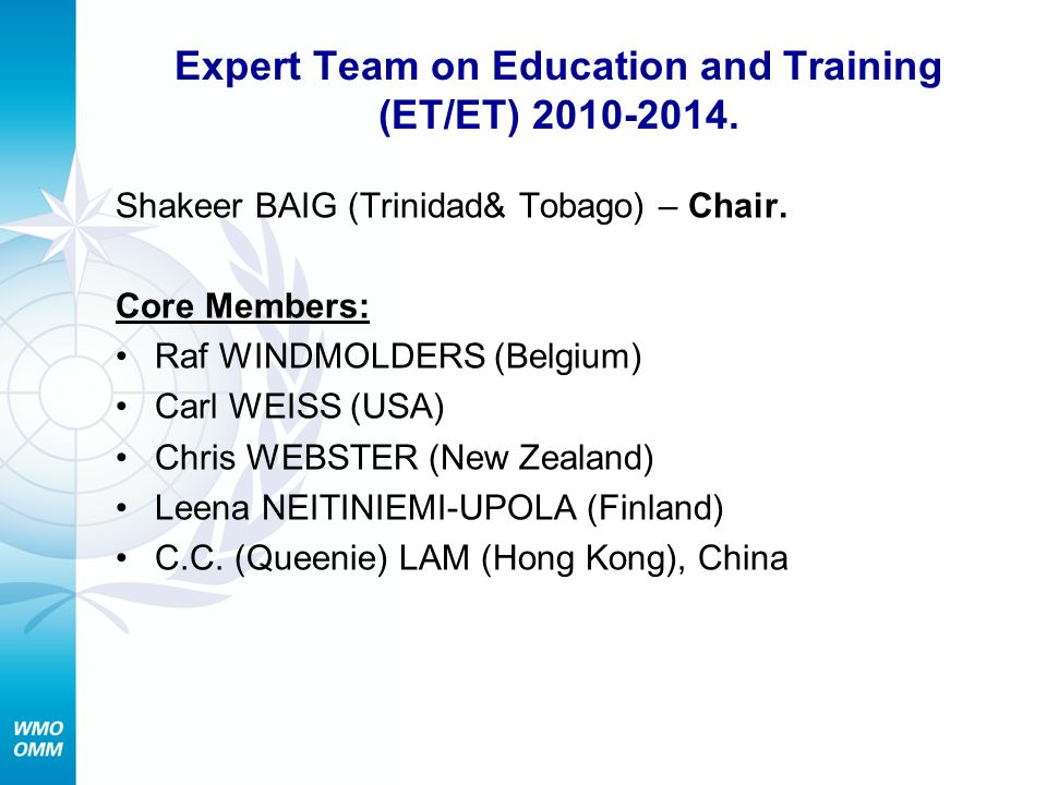 Expert Team on Education and Training (ET/ET)