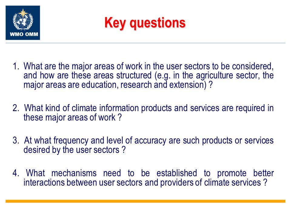 WMO OMM Key questions Key questions 1.